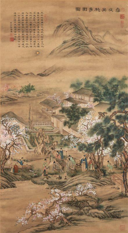 Lot 325: Large Framed Chinese Scroll, Moonlit Scene