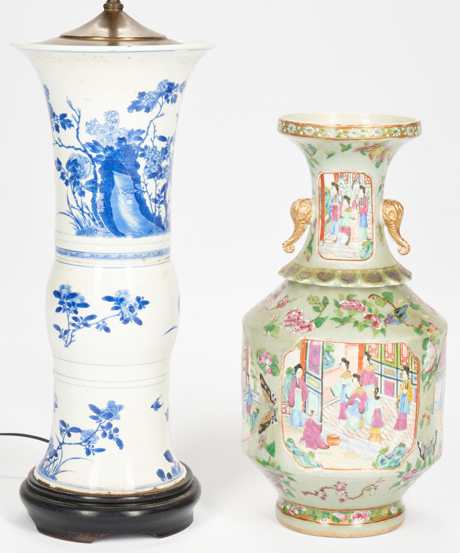 Lot 329: 2 Chinese Vases, incl. Gu Vase Lamp
