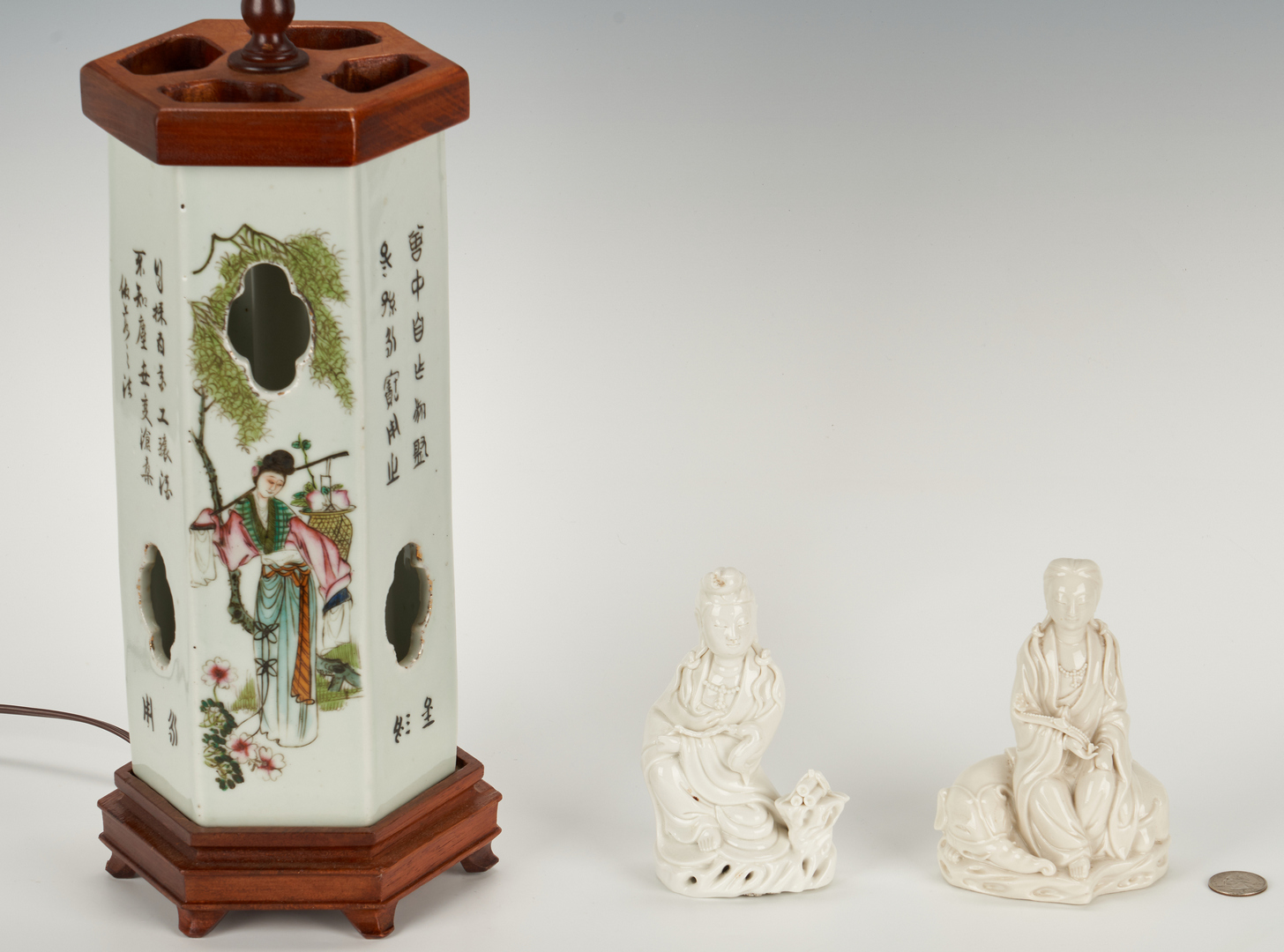 Lot 331: Chinese Hat Stand and 2 Blanc de Chine Figures