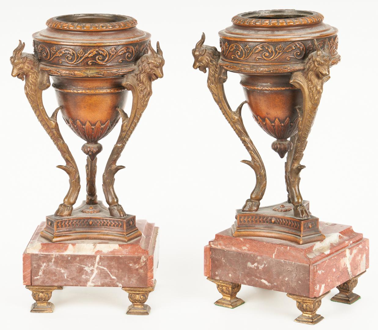 Lot 332: 3 Pc. French Figural Clock Garniture Set