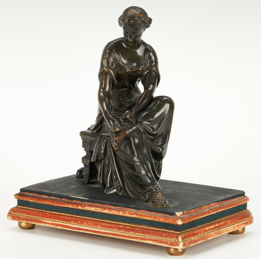 Lot 333: Bronze figure of woman on bench plus sm. compote