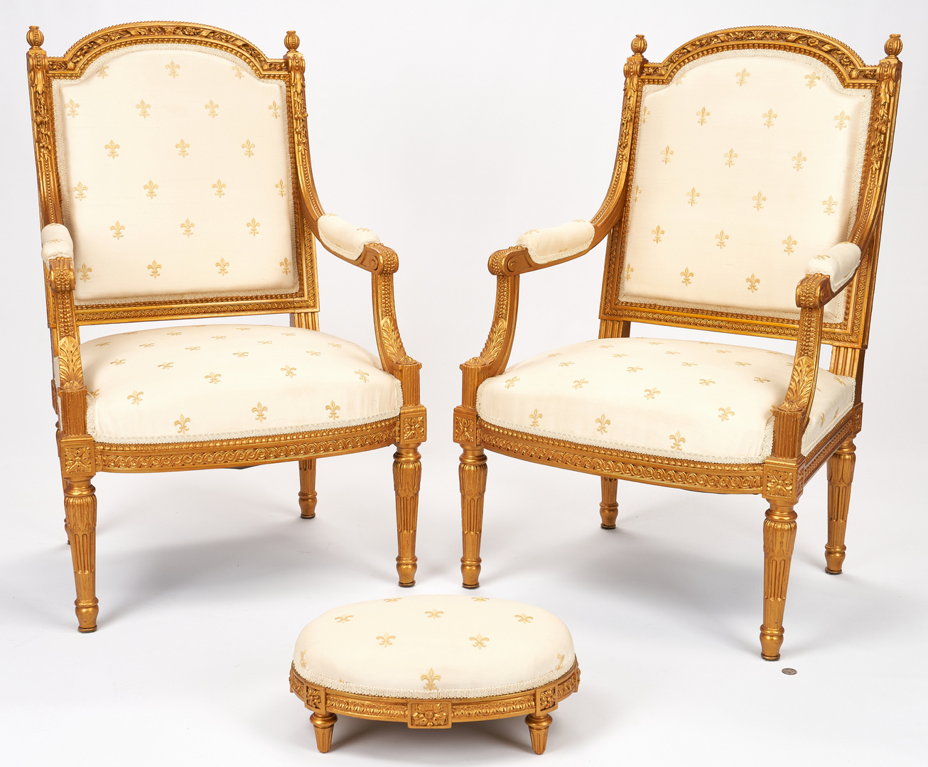 Lot 337: Pair of French Louis XVI Style Fauteuils & Footstool