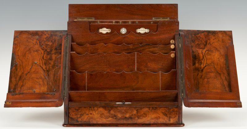 Lot 338: 19th C. Burlwood Stationery or Letter Box