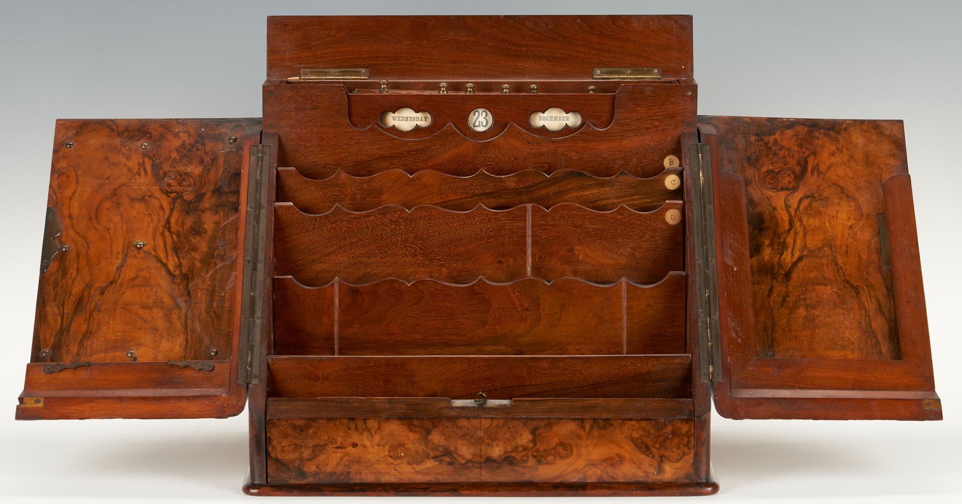 Lot 338: 19th C. Burlwood Stationery or Letter Box