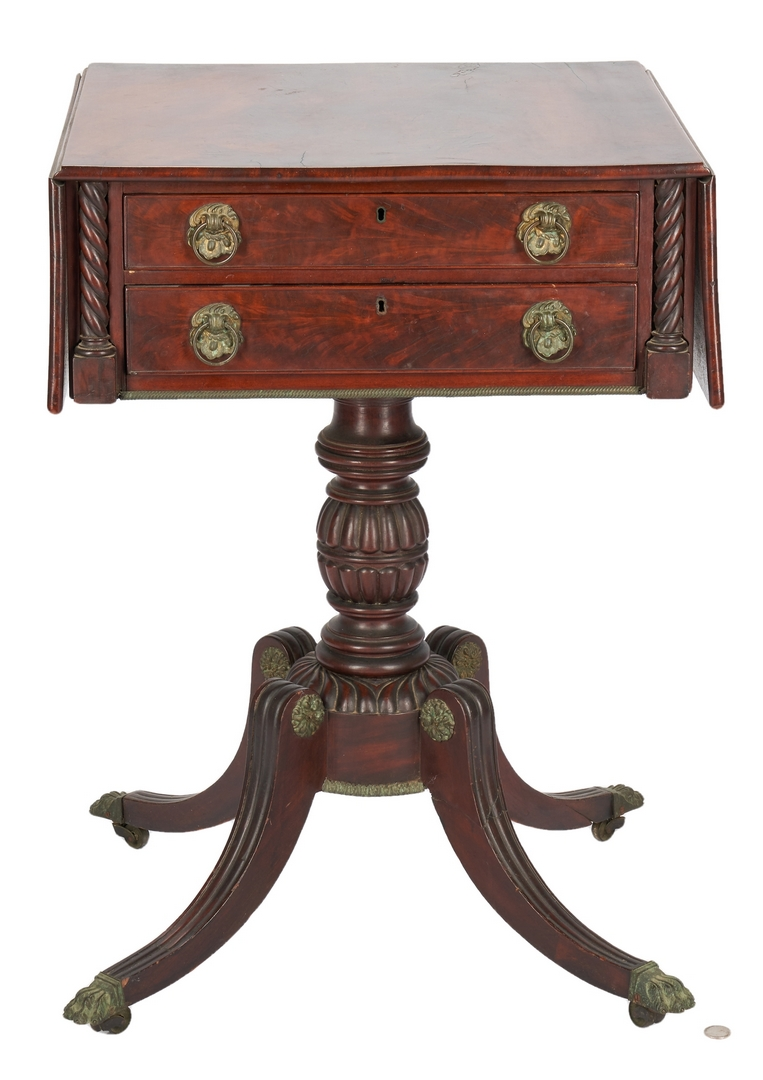 Lot 344: American Classical Dropleaf Sewing Table