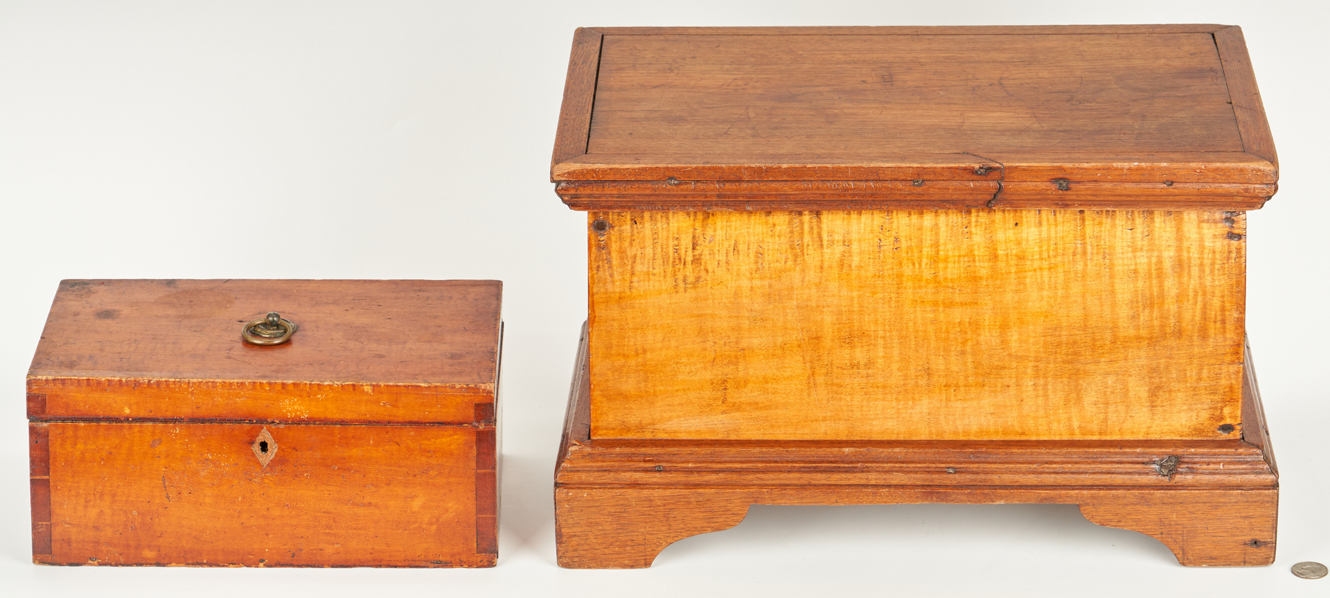 Lot 348: Miniature American Blanket Chest Box & Document Box