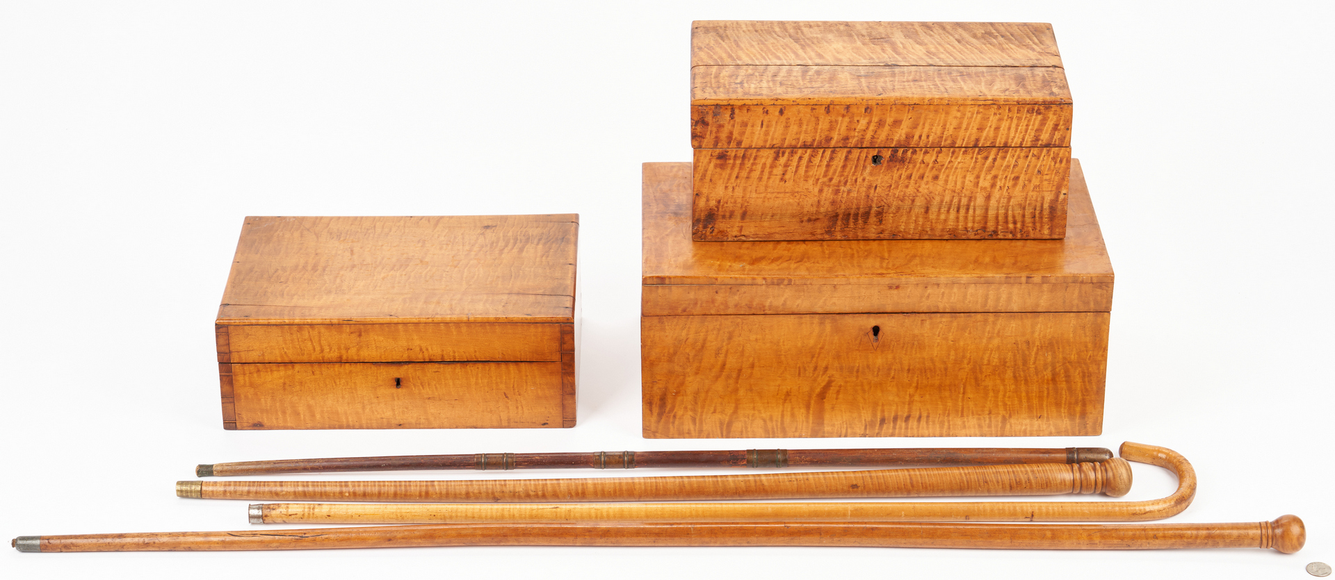 Lot 350: 7 Tiger Maple Items, incl. Boxes & Walking Sticks