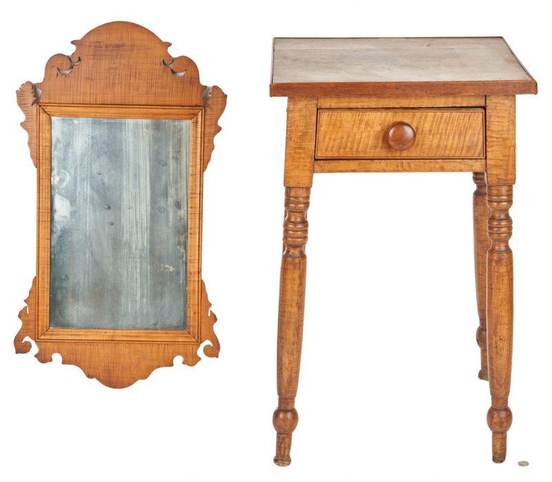Lot 354: Mid-Atlantic Tiger Maple Table & Mirror
