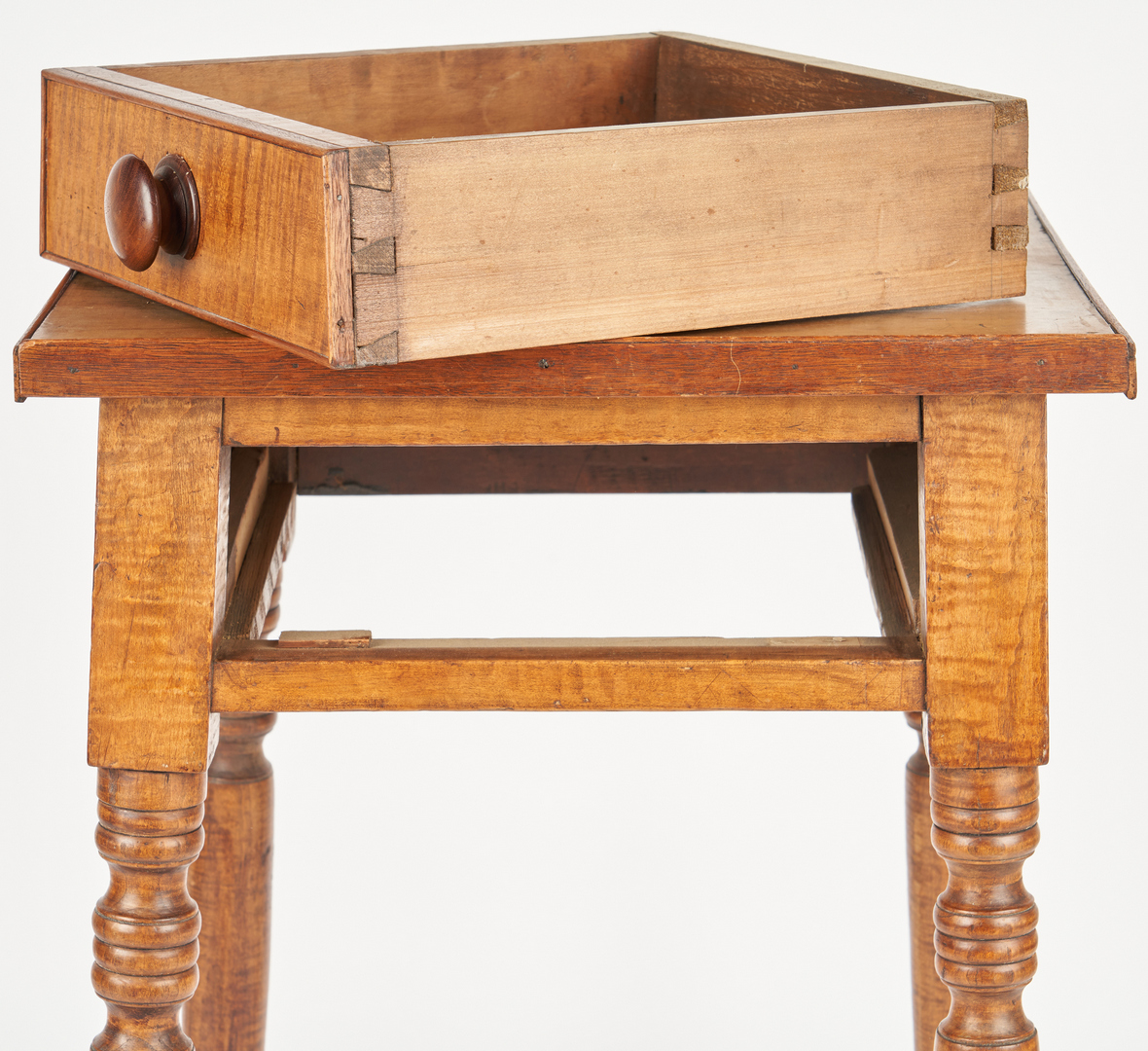 Lot 354: Mid-Atlantic Tiger Maple Table & Mirror