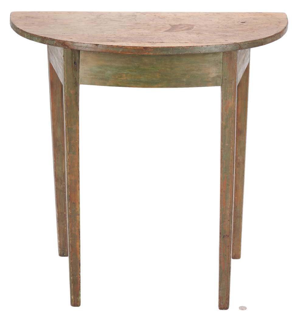 Lot 357: Painted Hepplewhite Demilune Table, Poss. Southern