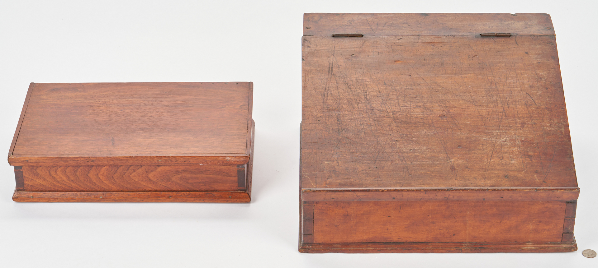 Lot 369: Southern Dovetailed Tabletop Desk & Sewing Box, Poss. TN