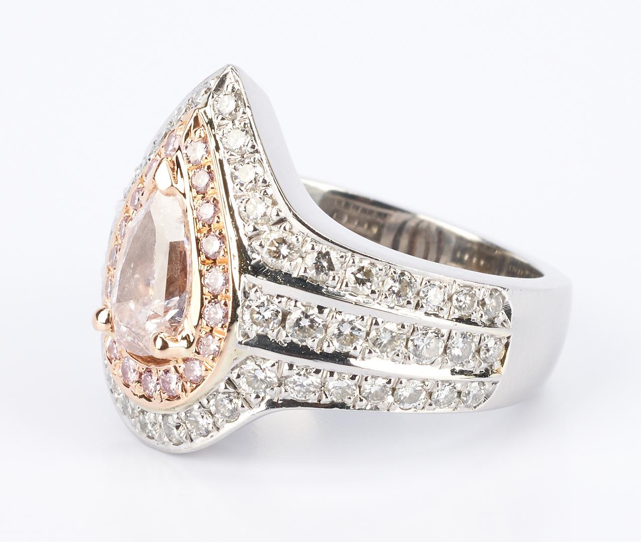 Lot 36: Ladies Platinum and Rose Gold Diamond Ring