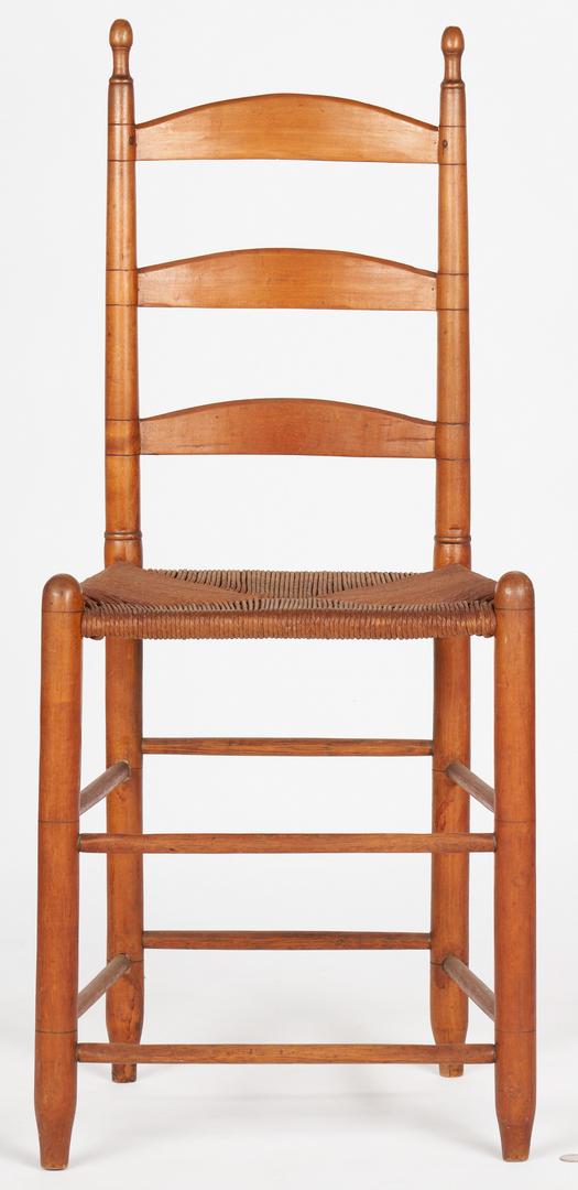 Lot 371: 3 East TN Ladderback Chairs & Miniature Chest
