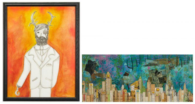 Lot 374: 2 Gabriel Shaffer Outsider Art Paintings