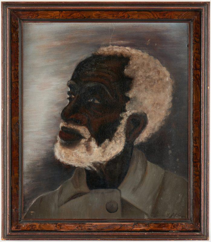 Lot 376: Folk Art O/B Portrait of a Black Man