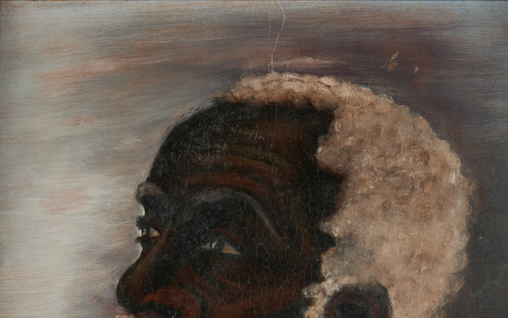 Lot 376: Folk Art O/B Portrait of a Black Man