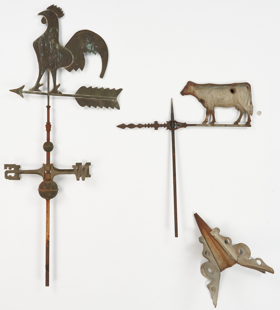 Lot 380: 2 Copper Figural Weathervanes – Rooster & Cow