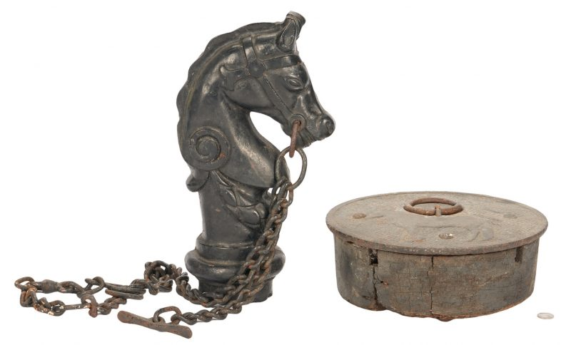 Lot 382: Horse Hitching Post Finial and Hitching Weight