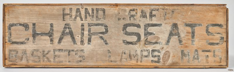 "Lot 383: Painted & Stenciled ""Hand Crafts"" Advertising Sign"