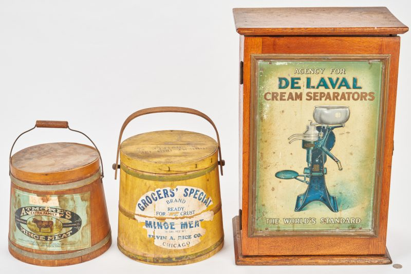 Lot 384: Advertising Cabinet & Firkins, 3 items