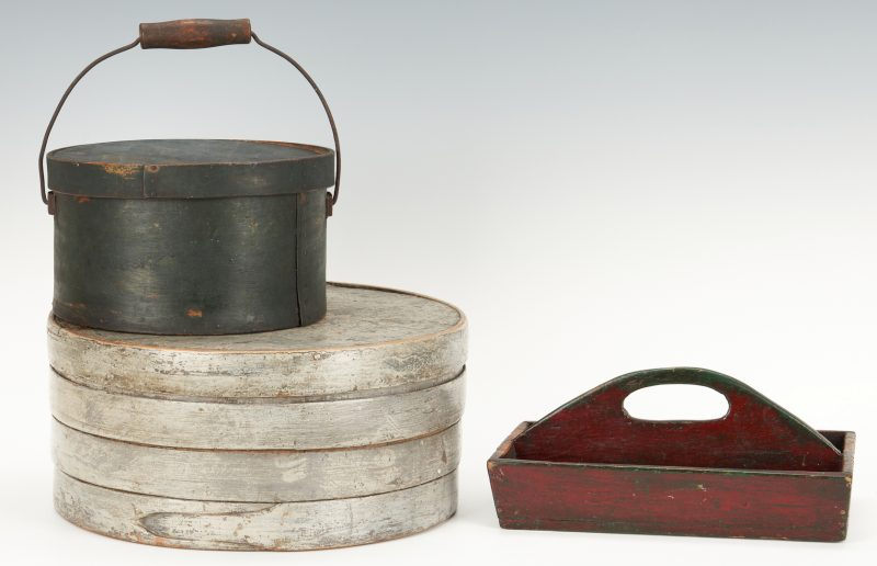 Lot 385: 2 Painted Pantry Boxes plus Cutlery Tray