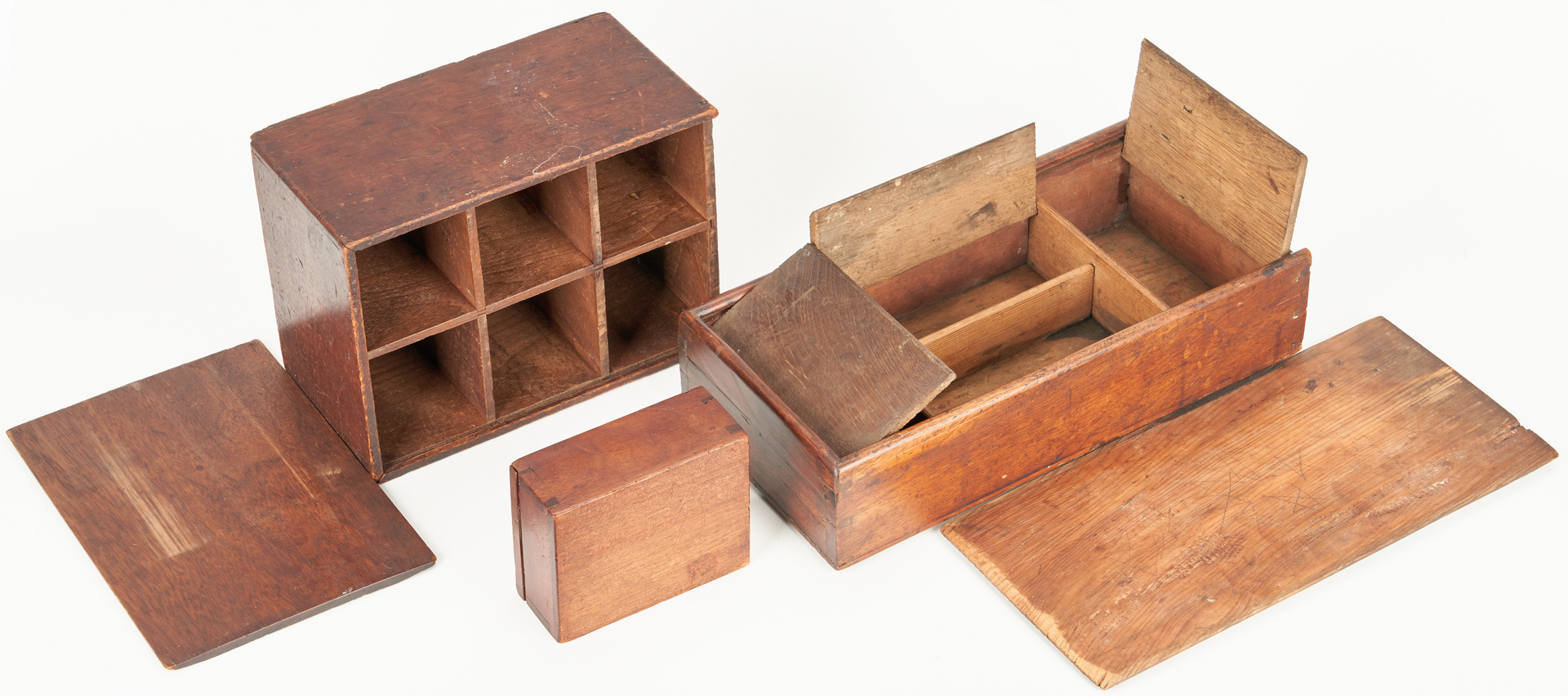 Lot 391: 5 Wooden Storage Boxes, incl. Painted Candle Box
