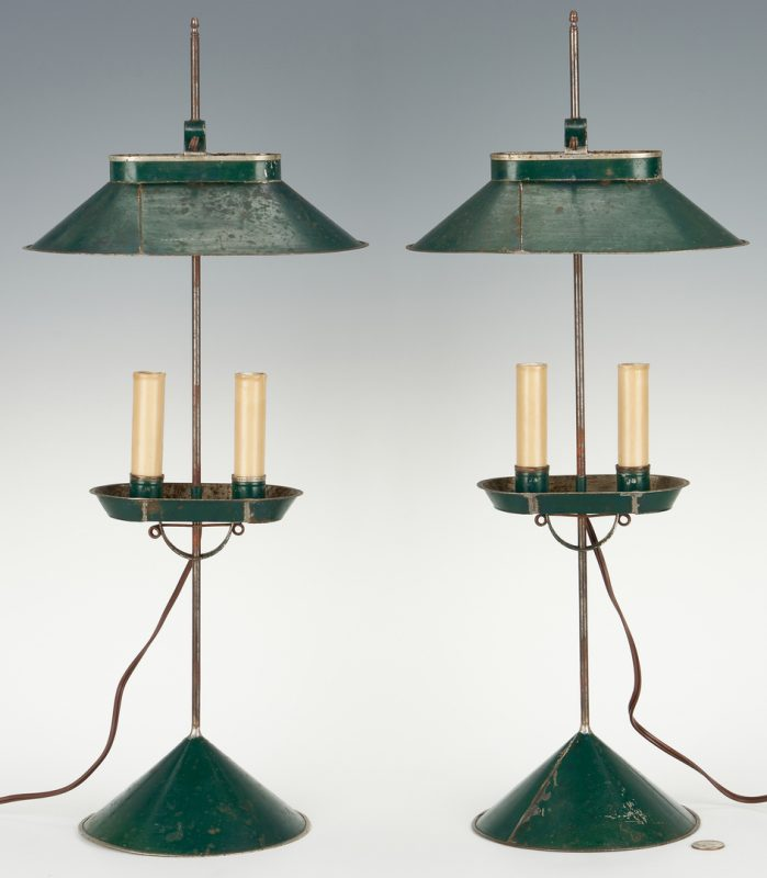 Lot 392: Pr. of Jerry Martin Painted Tin Student Lamps