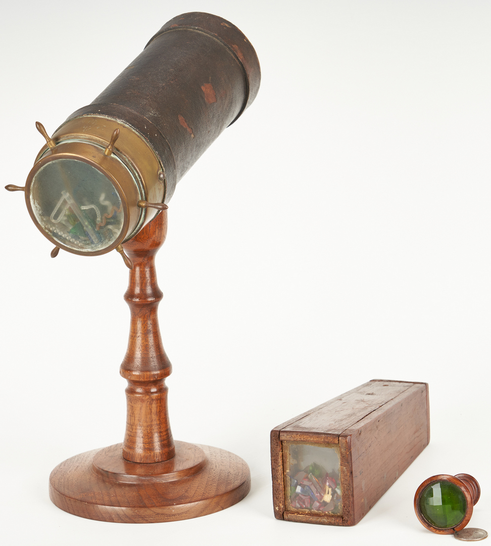 Lot 393: 3 Kaleidoscopes, Game Board and Folk Art Watch Stand