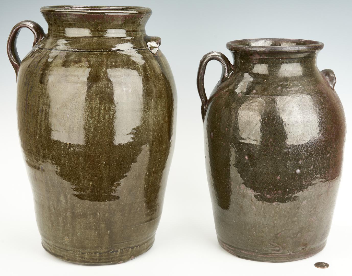 Lot 397: 2 Georgia Pottery Jugs, Chester & Matthew Hewell