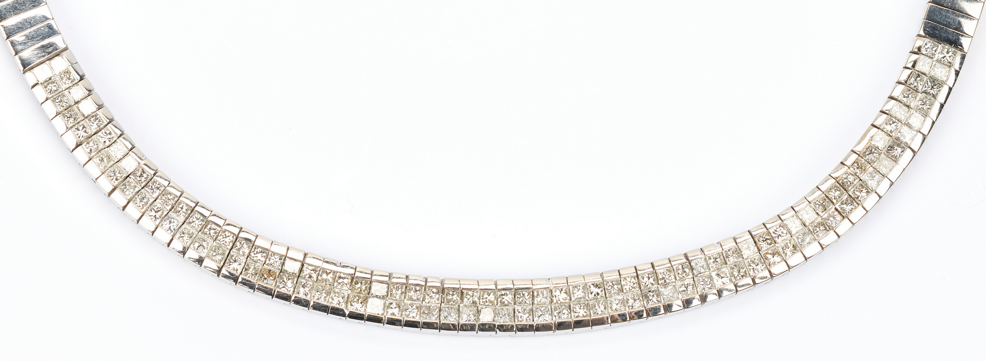 Lot 39: Ladies 18K Diamond Link Collar Necklace