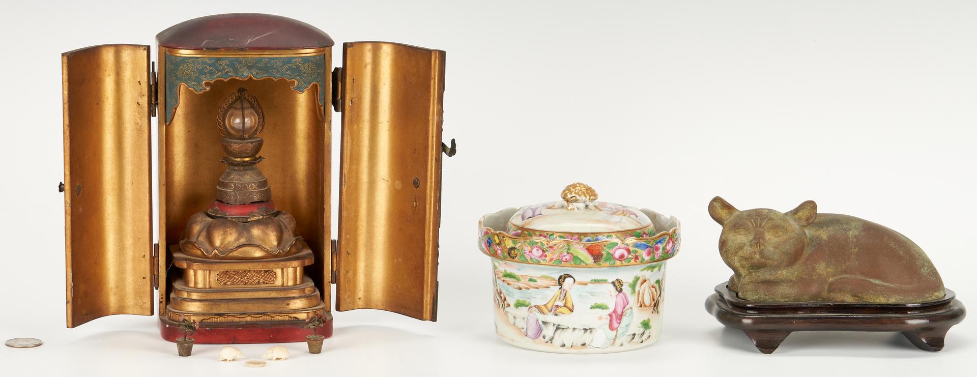 Lot 3: Asian Travel Shrine, Bronze Cat, and Famille Rose Jar
