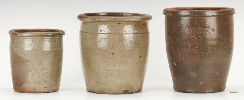 Lot 401: 3 East TN Pottery Jars, Harmon & Weaver