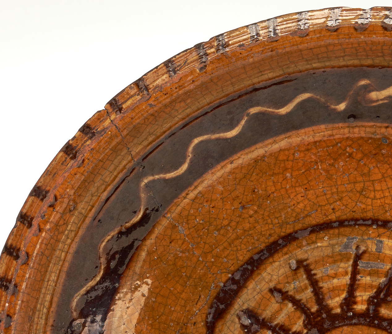 Lot 405: NC Earthenware Slip Decorated Plate