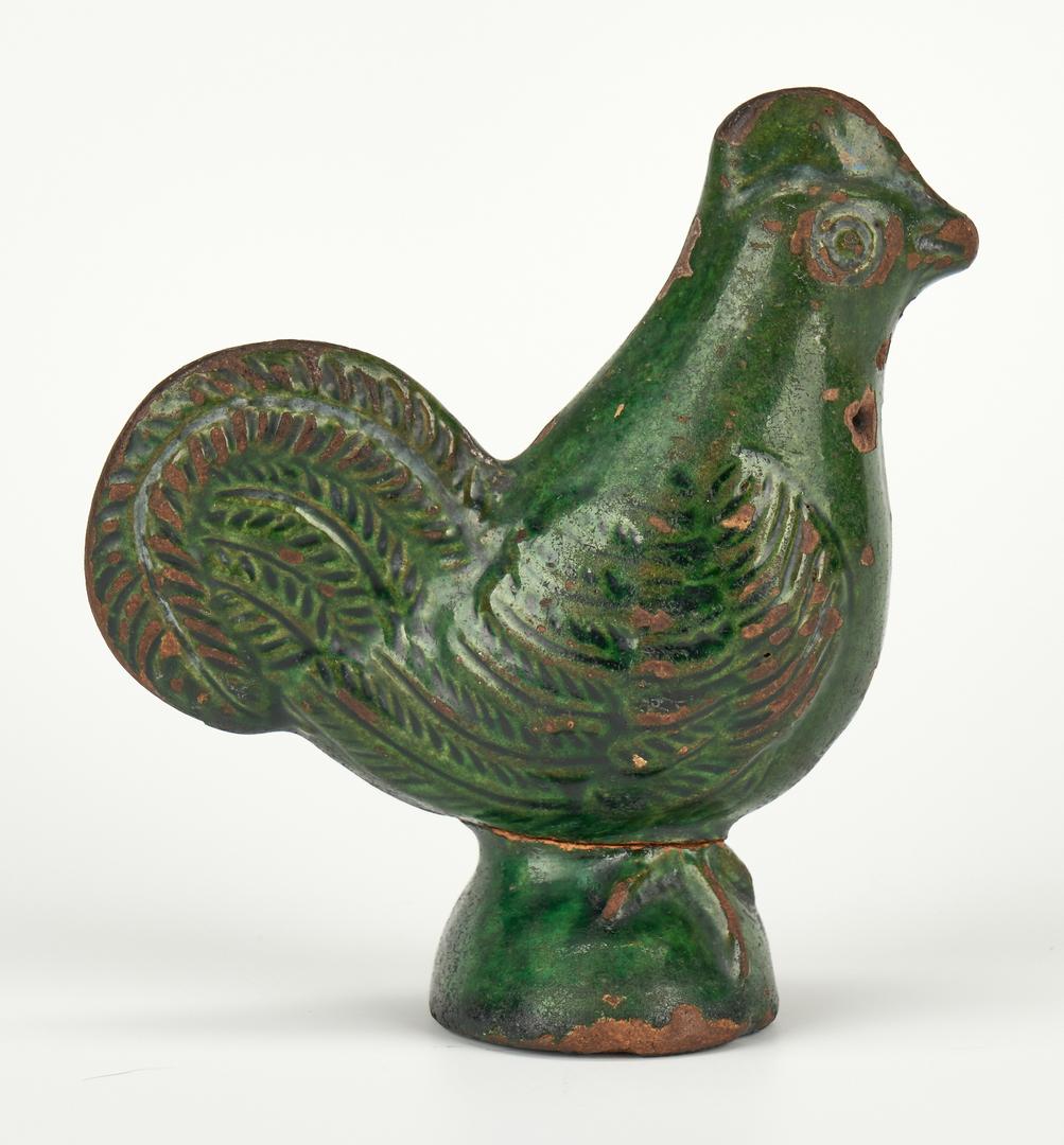 Lot 406: Moravian Green Glazed Pottery Chicken