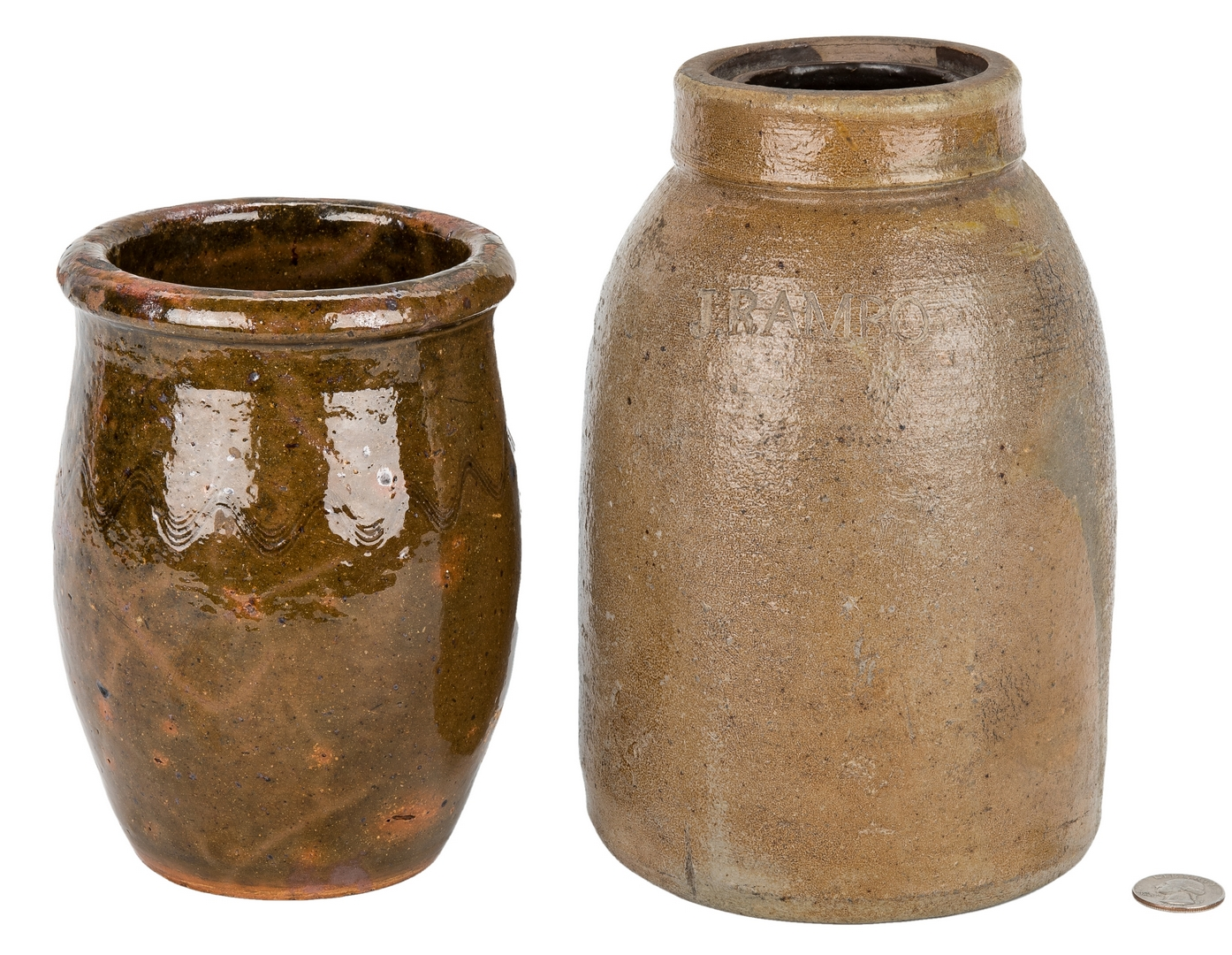 Lot 407: 3 Stoneware Preserving Jars, North Carolina, Ohio, & Mid-Atlantic