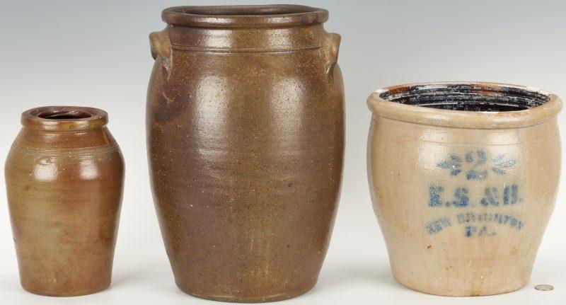 Lot 409: 3 Stoneware Pottery Items, TN & PA