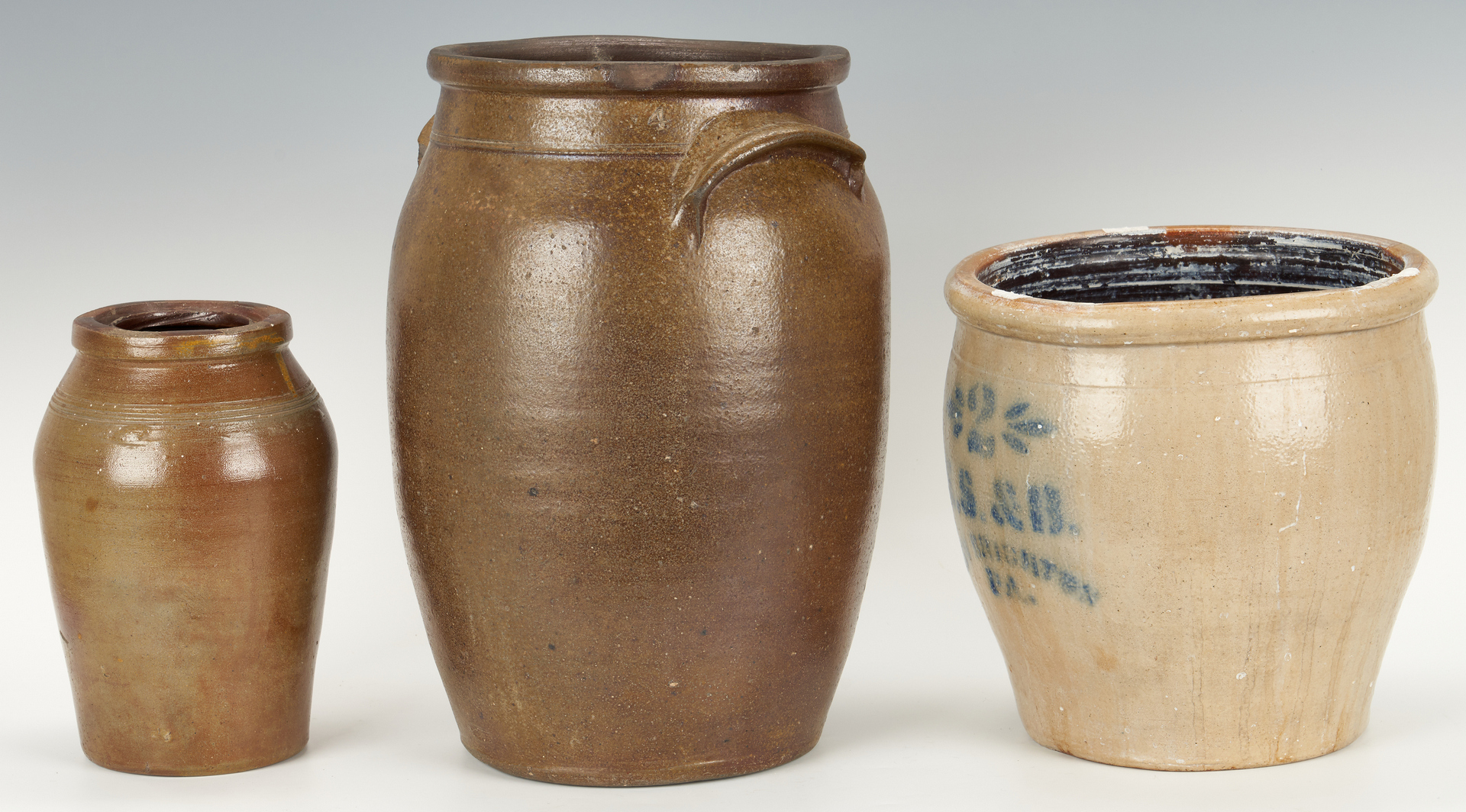 Lot 409: 3 Stoneware Pottery Items, TN & PA