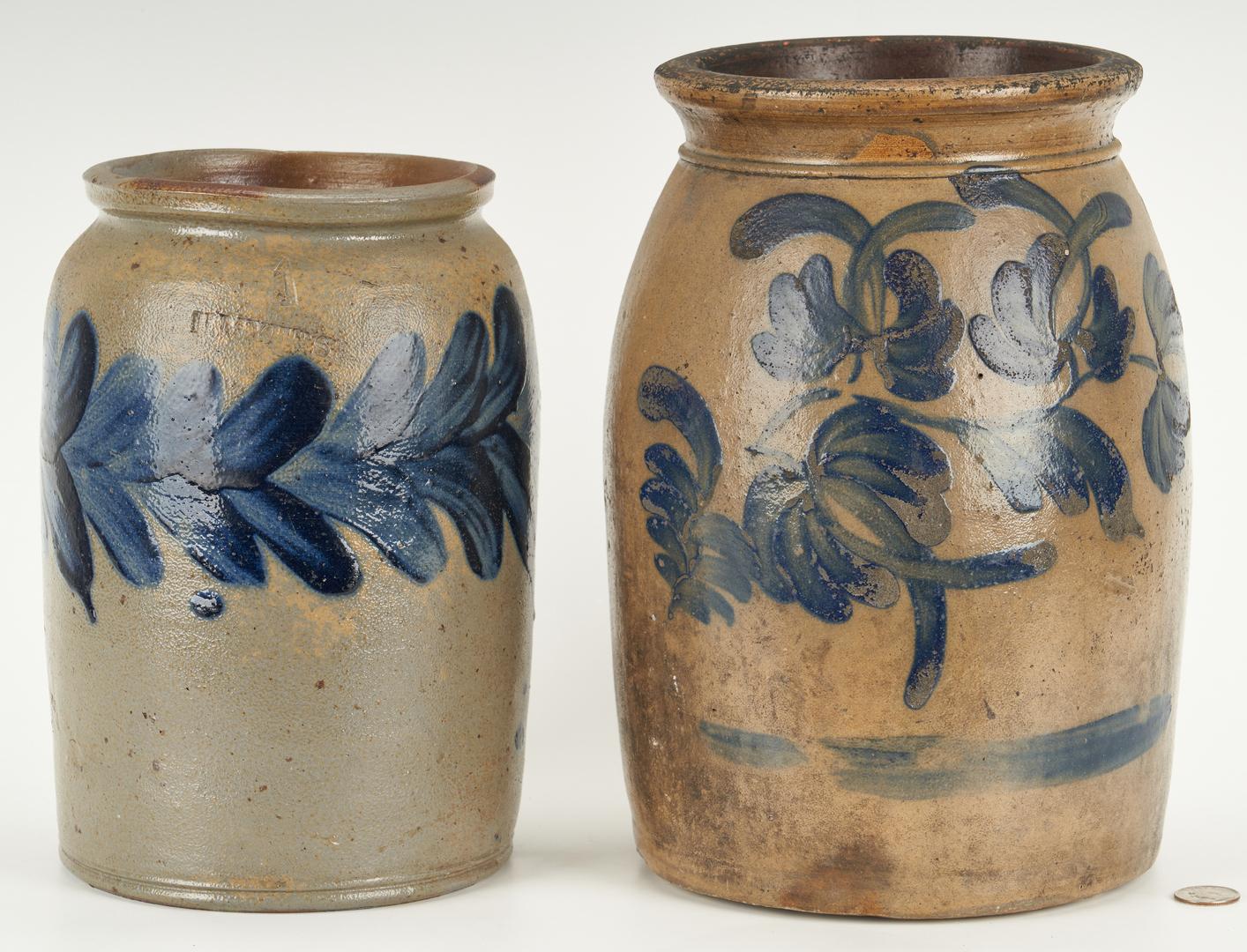 Lot 410: 2 Mid-Atlantic Pottery Jars w/ Cobalt Decoration, incl. Myers-Remmey