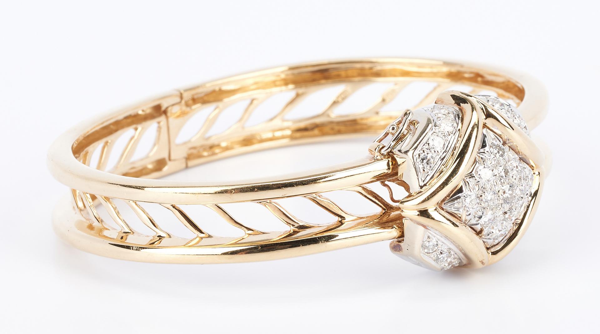 Lot 420: Ladies 14K Diamond Bangle Bracelet