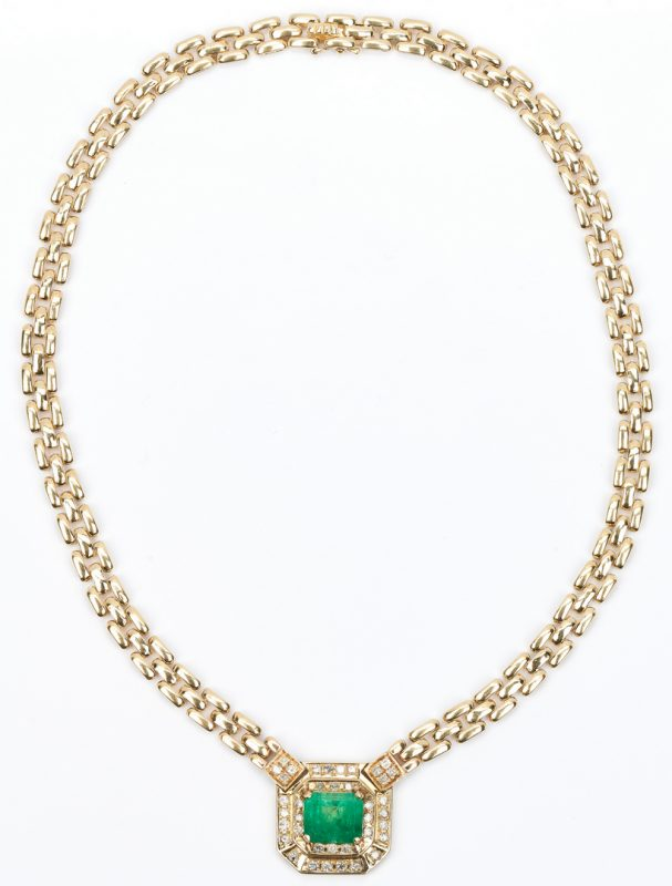 Lot 421: Ladies 4K Emerald, Gold, & Diamond Necklace
