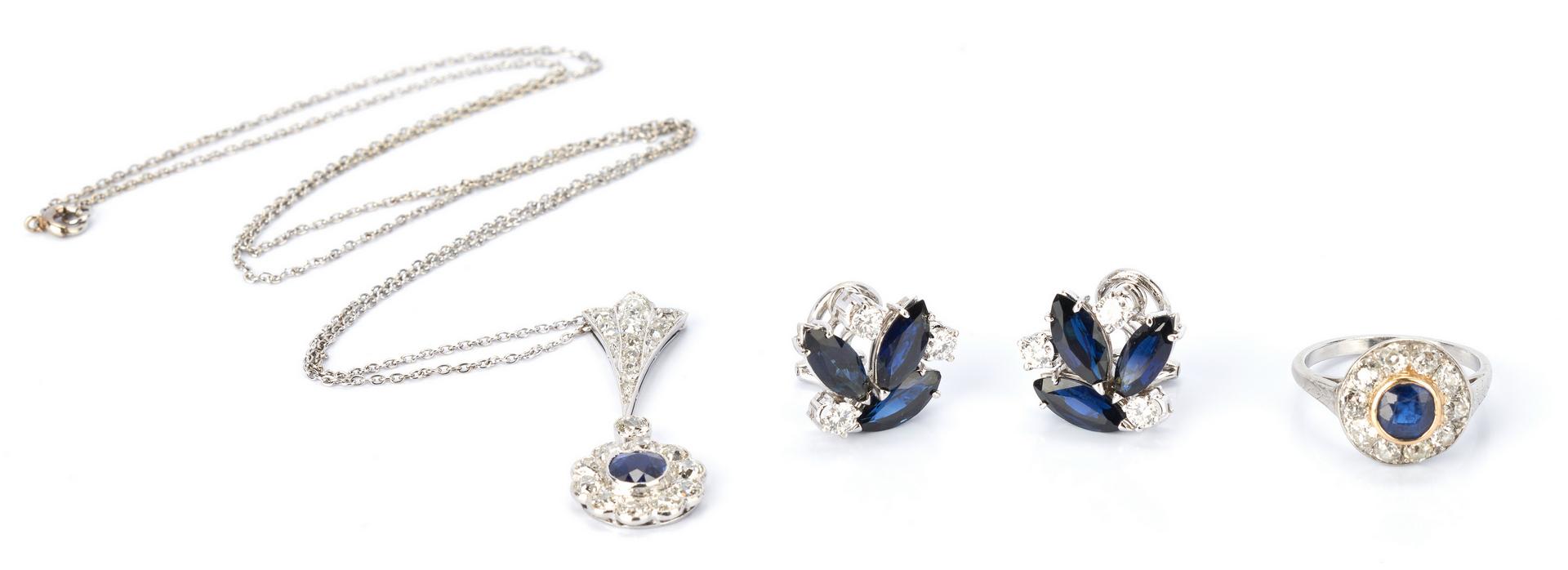 Lot 424: 14K Sapphire and Diamond 4 Piece Jewelry Set