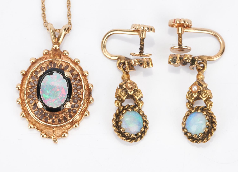 Lot 425: Ladies 14K Gold & Opal Jewelry 5 Piece Set