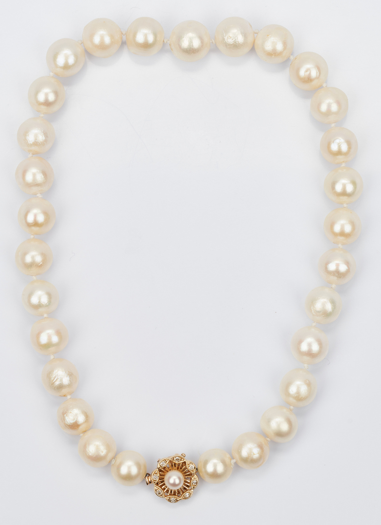 "Lot 426: 14K Gold Clasp 16"" South Sea Pearl Necklace"