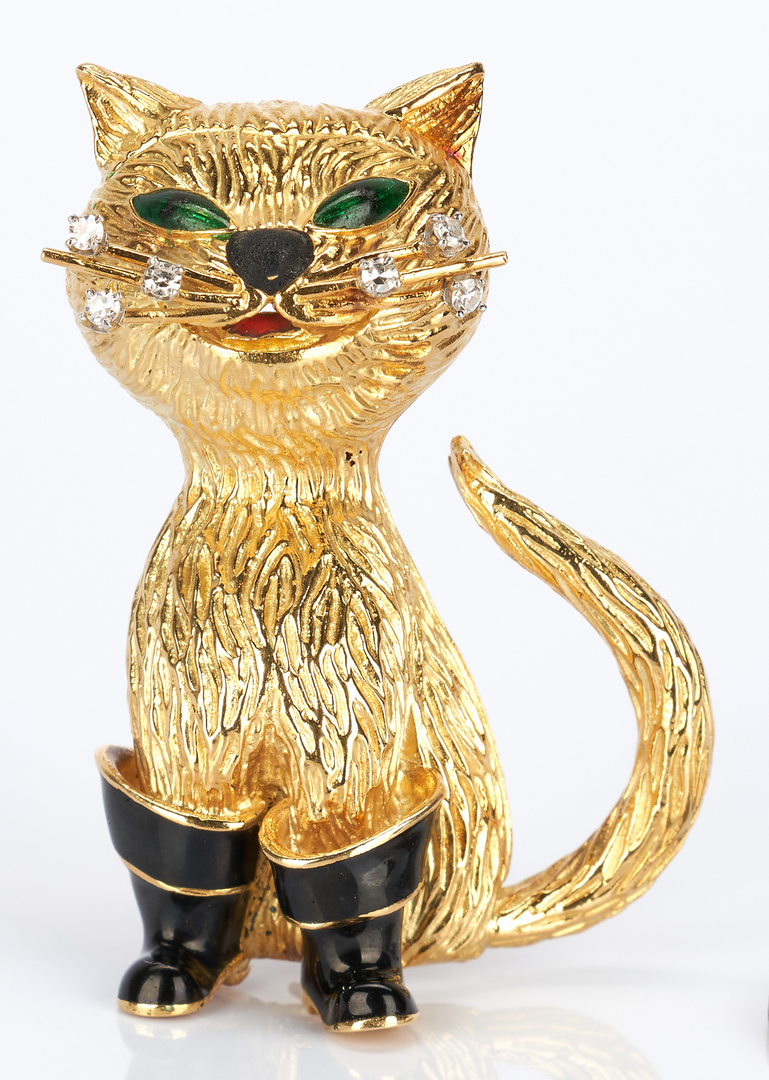 "Lot 427: 18K Gold and Diamond ""Puss 'n Boots"" Pin"