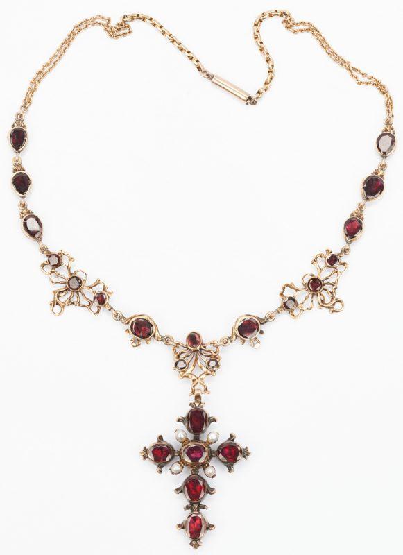 Lot 430: Garnet & 14K YG Austro-Hungarian Period Necklace