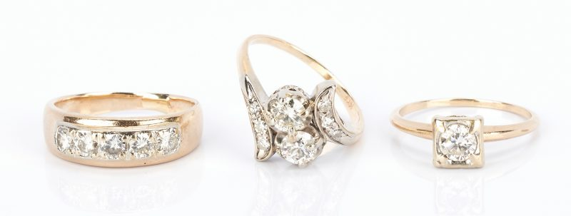 Lot 431: 3 Ladies 14K Gold and Diamond Rings