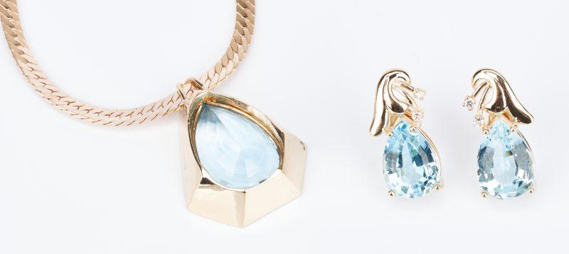 Lot 432: Ladies 14K Topaz Necklace & Topaz and Diamond Earrings