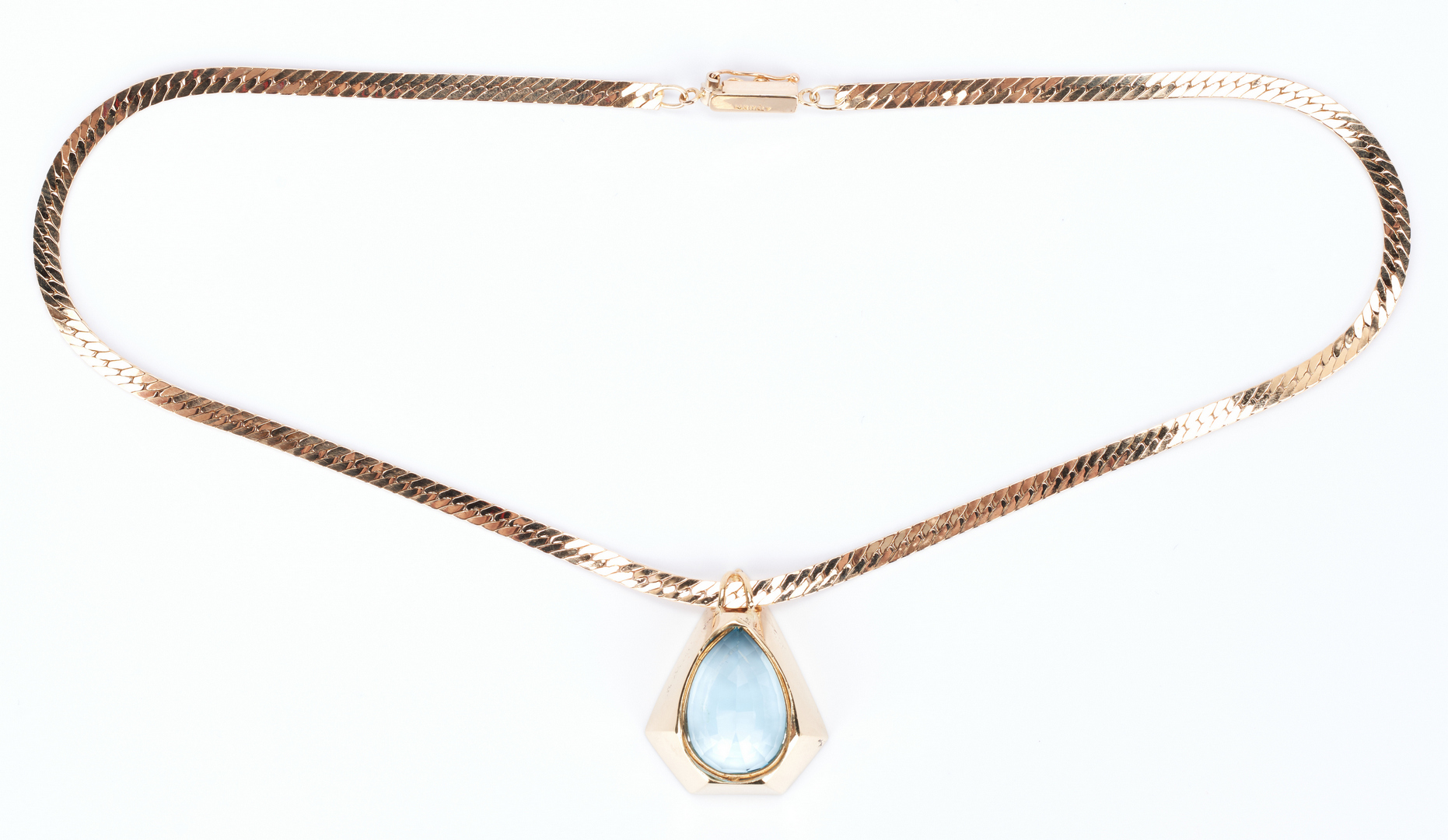 Lot 432: Ladies 14K Topaz Necklace & Topaz and Diamond Earrings