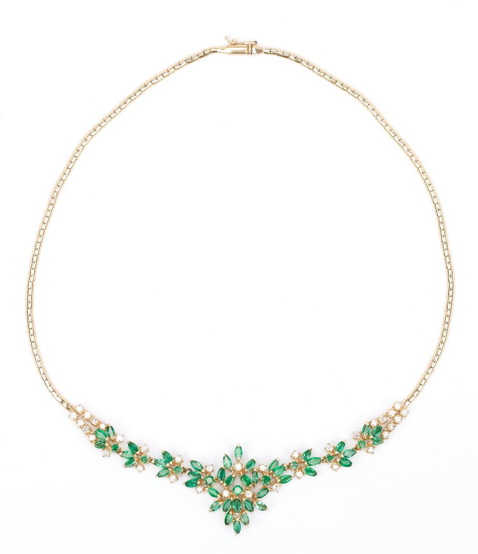 Lot 435: Ladies Emerald & Diamond Floral Necklace