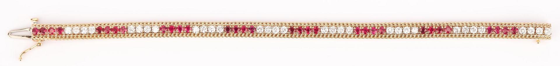 Lot 436: Ladies 14K Gold & Ruby Bracelet
